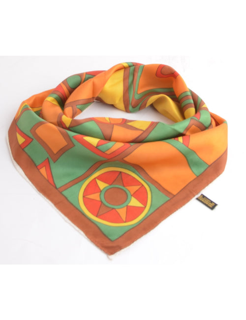 Vintage Silk Scarf Multi-colour With A Hand Rolled Hem