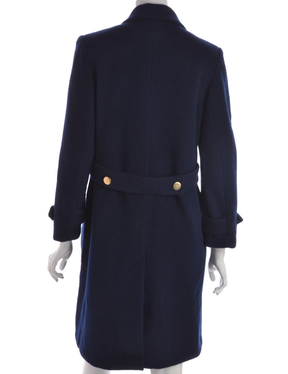 Beyond Retro Label Coat Navy With Waist Pockets