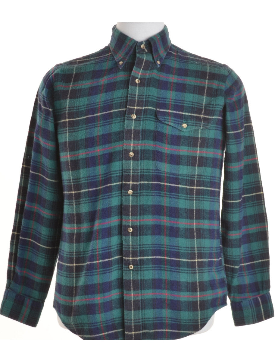 Checked Shirt Green With Pockets