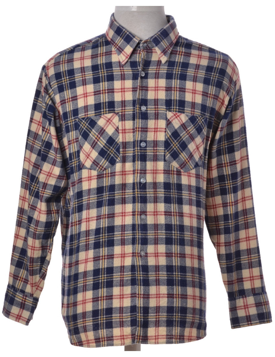 Checked Shirt Cream With Two Pockets