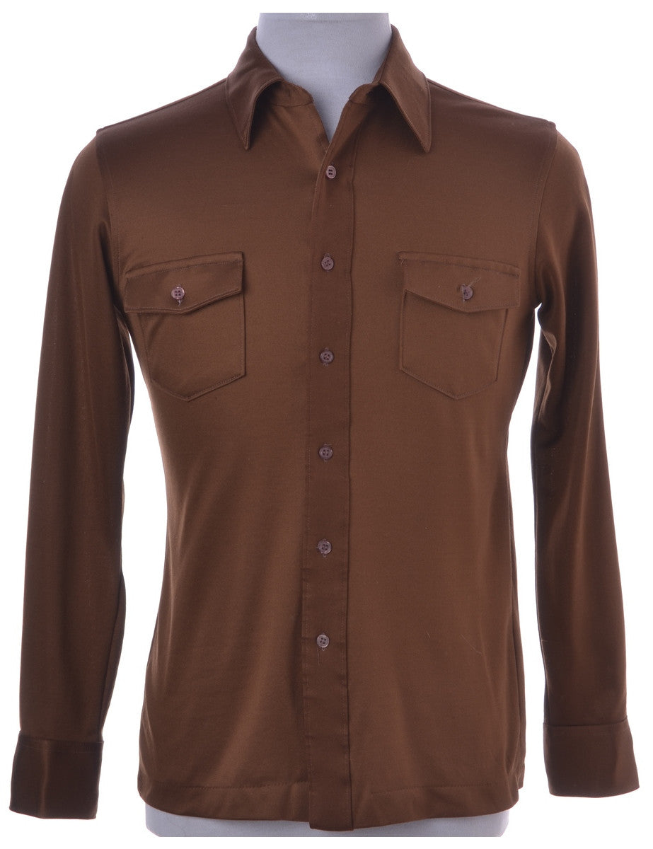 Vintage Casual Shirt Brown With Flap Pockets