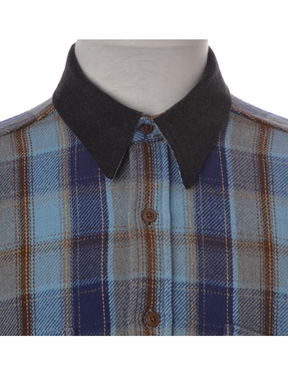 Label blue Plaid Shirt with Denim Collar