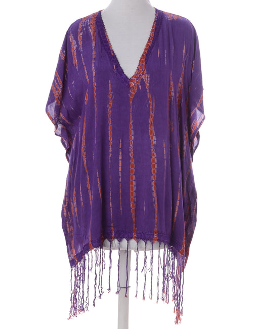 Printed Top Purple With A V-neck