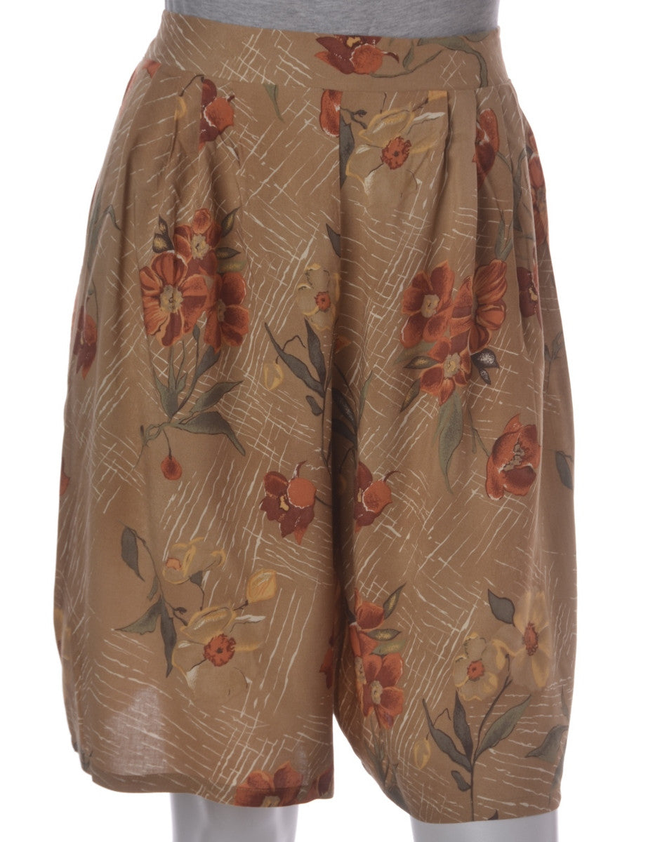 Vintage Casual Shorts Light Brown With An Elasticized Back