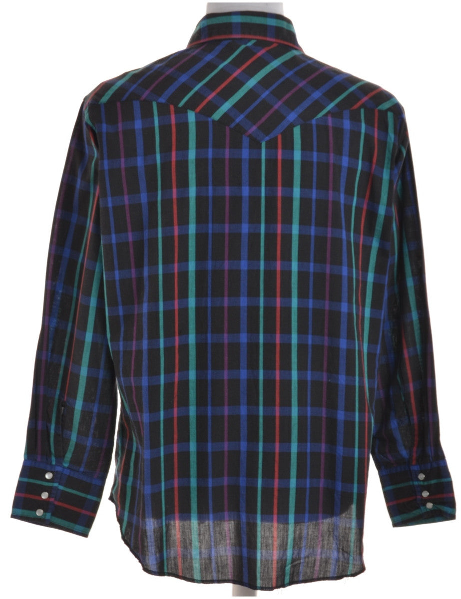 Checked Shirt Black With Two Pockets
