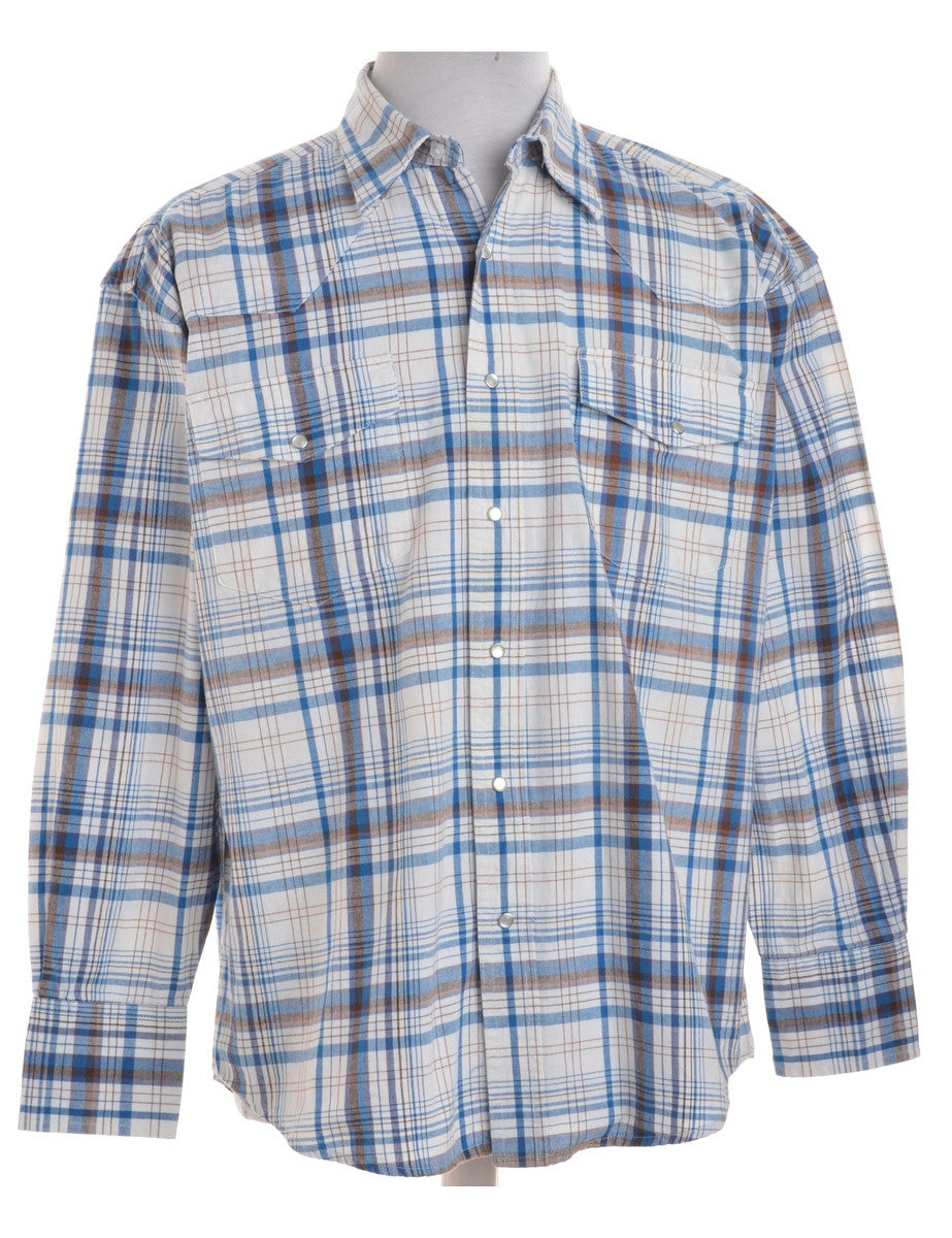 Checked Shirt White With Two Pockets