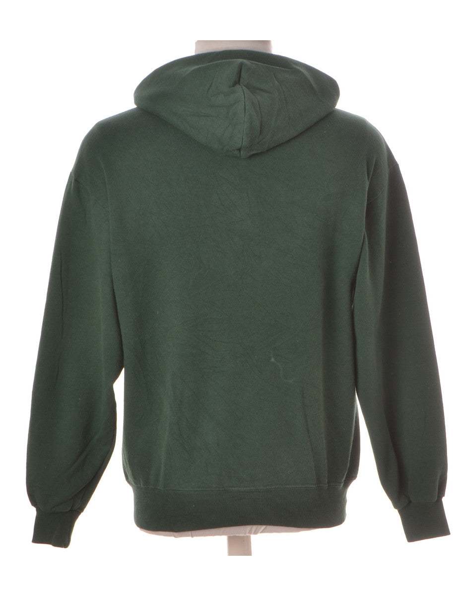 Printed Sweatshirt Green With A Kangaroo Pocket