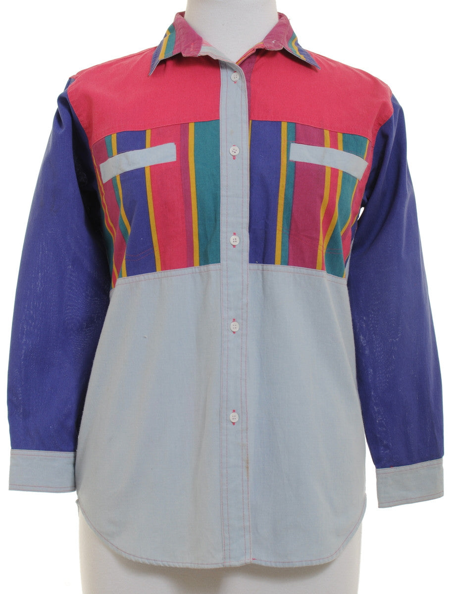 Vintage Casual Blouse Multi-colour With Contrasting Panels
