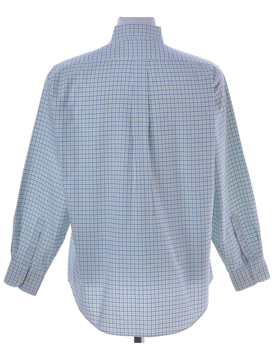 Checked Shirt Light Blue With A Button Down Collar