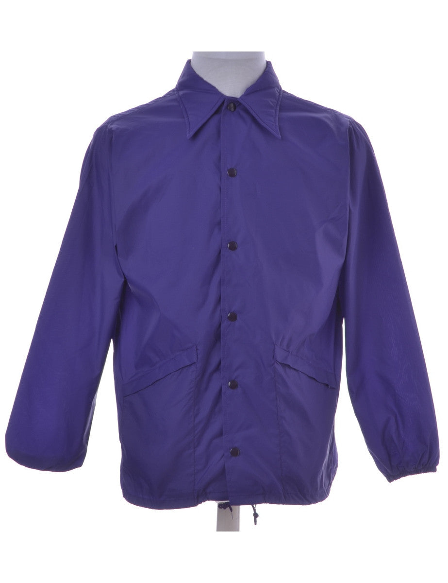 Vintage Casual Jacket Purple With Pockets