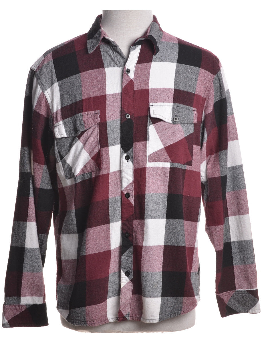Checked Shirt Aubergine With Felled Seams