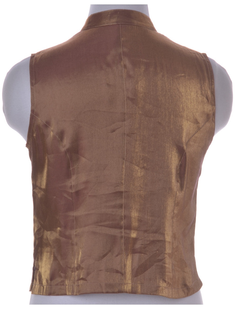 Party Top Brown With A Chinese Collar