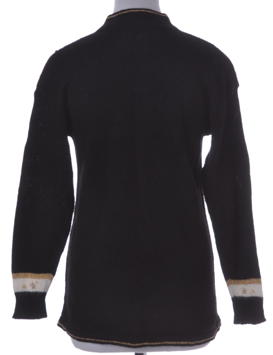 Jumper Black With Lurex Thread Pattern