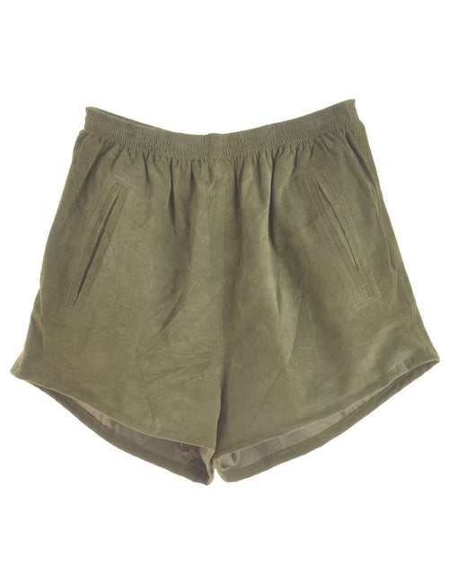 Label Suede Shorts
