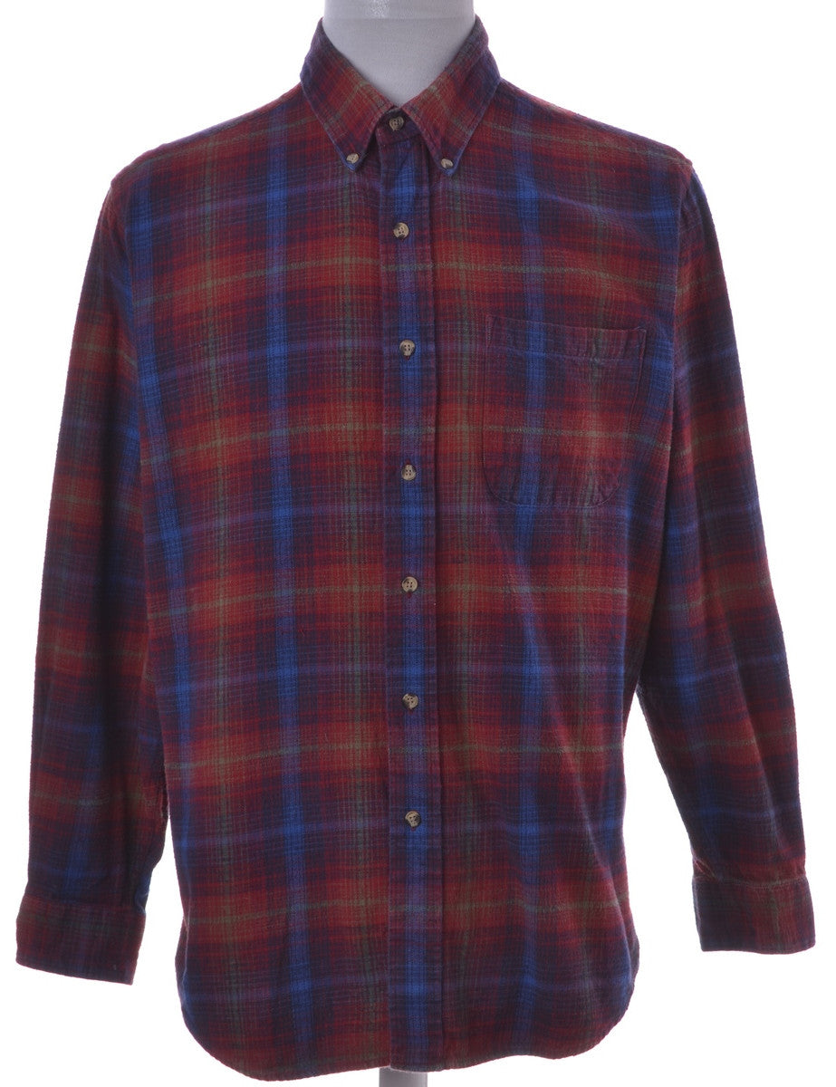 Checked Shirt Red With A Button Down Collar