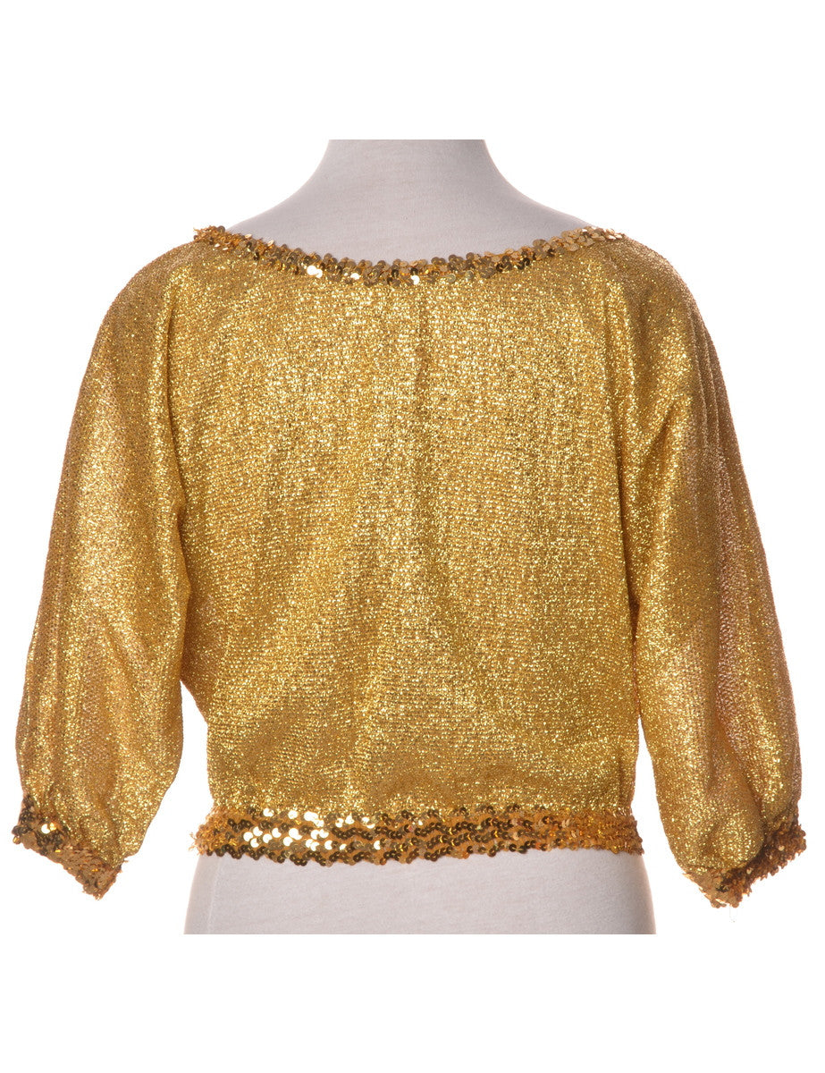 Party Top Golden Yellow With Sequins
