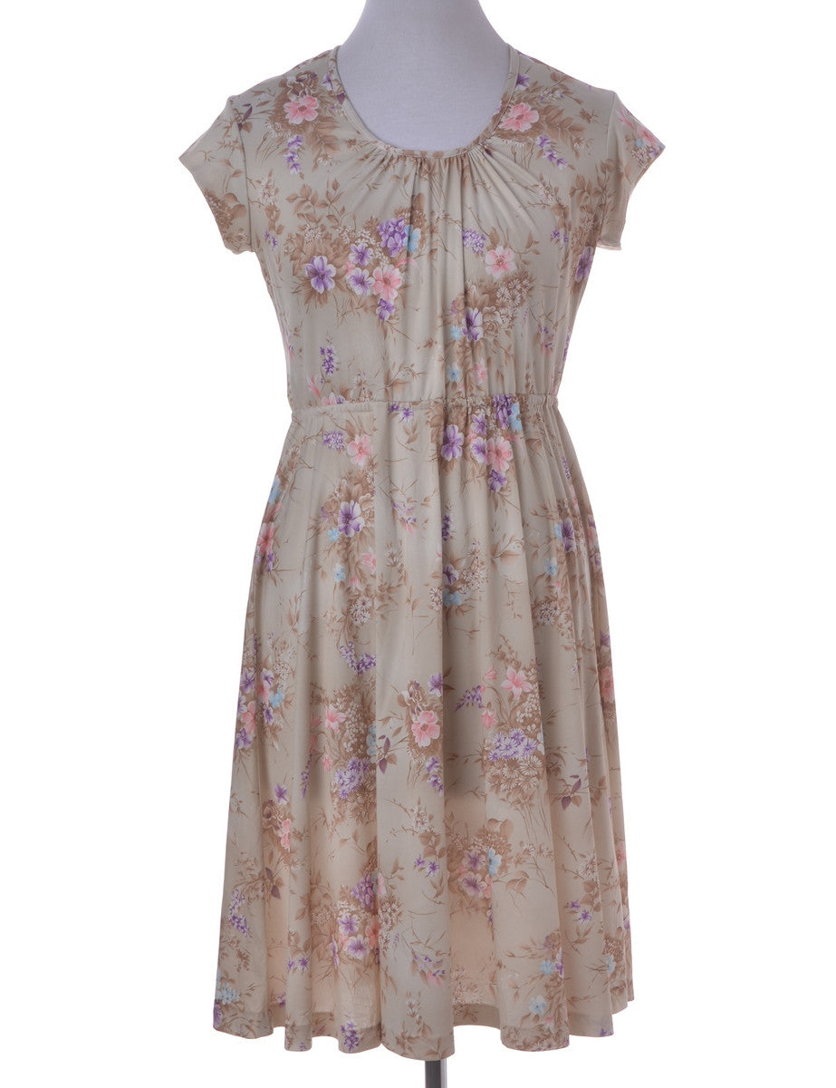 Vintage Day Dress Khaki With Ruched Detailing