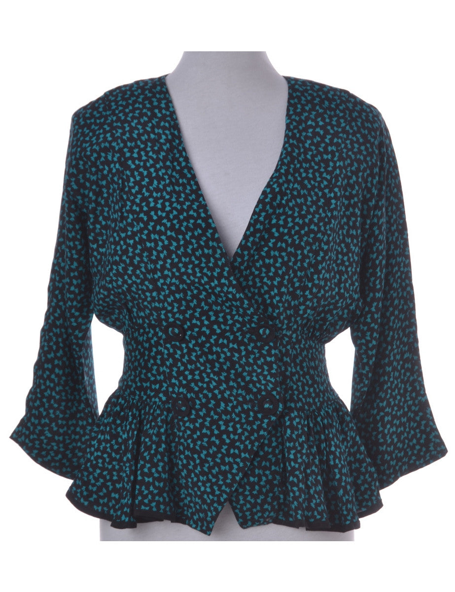 Casual Jacket Turquoise With A Cross-over Front - Casual Jacket - Beyond Retro