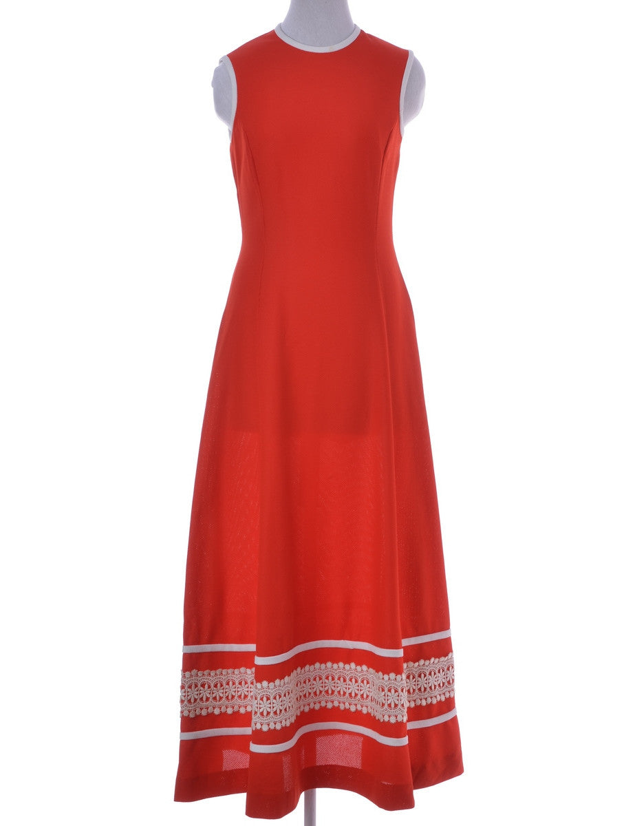 Vintage Maxi Dress Red With Contrasting Trim