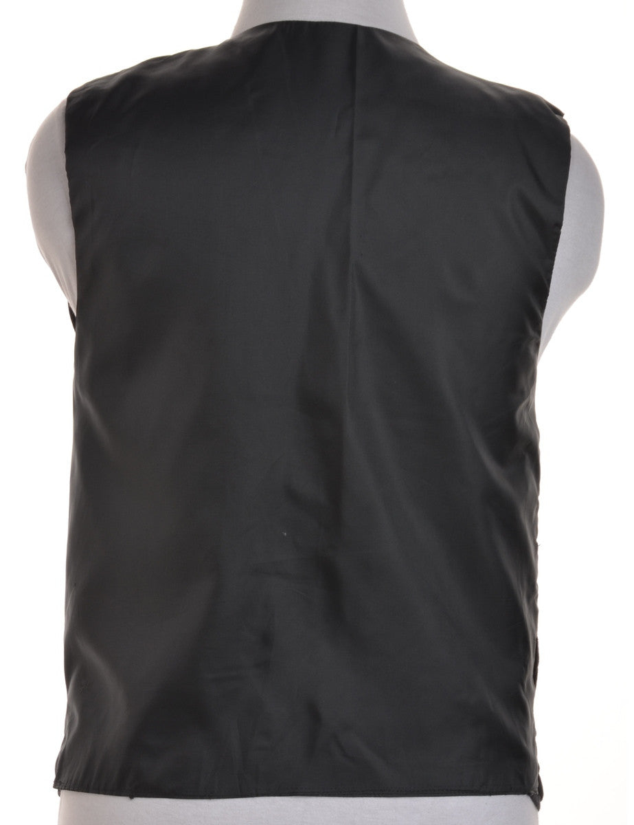 Waistcoat Black With Embroidery