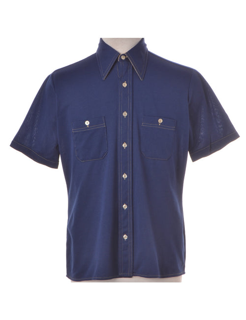 Vintage Casual Shirt Navy With Buttoned Pockets
