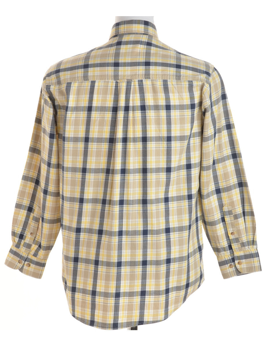 Checked Shirt Yellow With A Button Down Collar