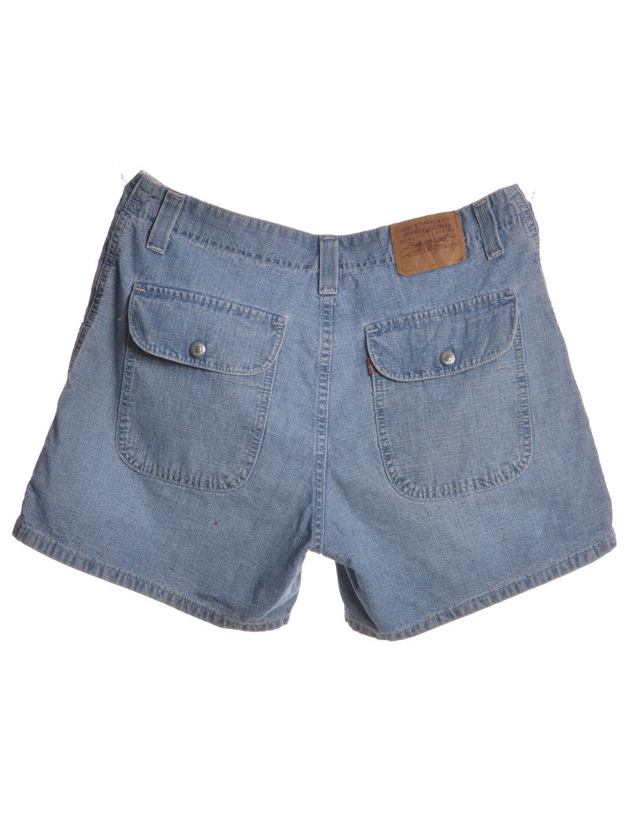 Denim Shorts Washed Indigo With Pockets