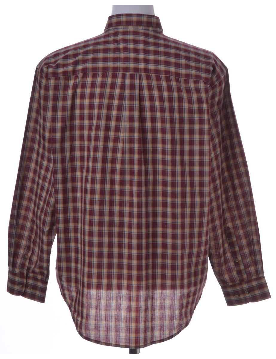 Checked Shirt Light Brown With A Button Down Collar
