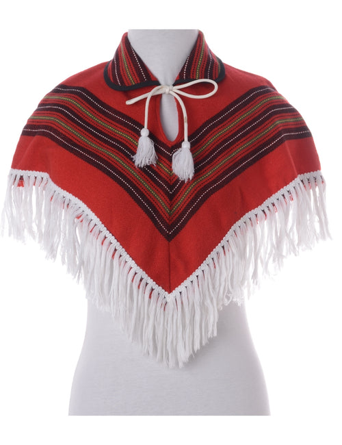 Vintage Poncho Red With A Neck Tie