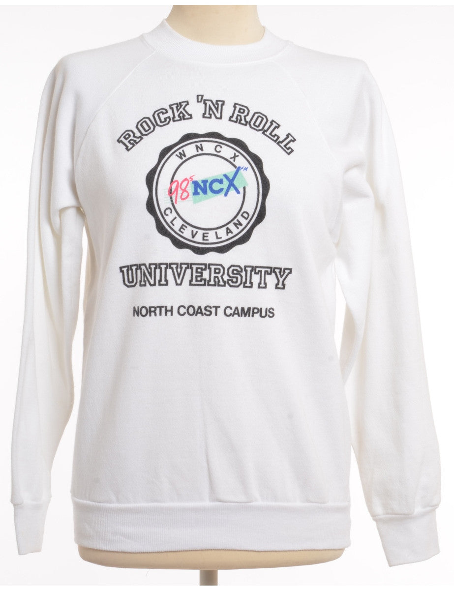 Printed Sweatshirt White With A Ribbed Neck