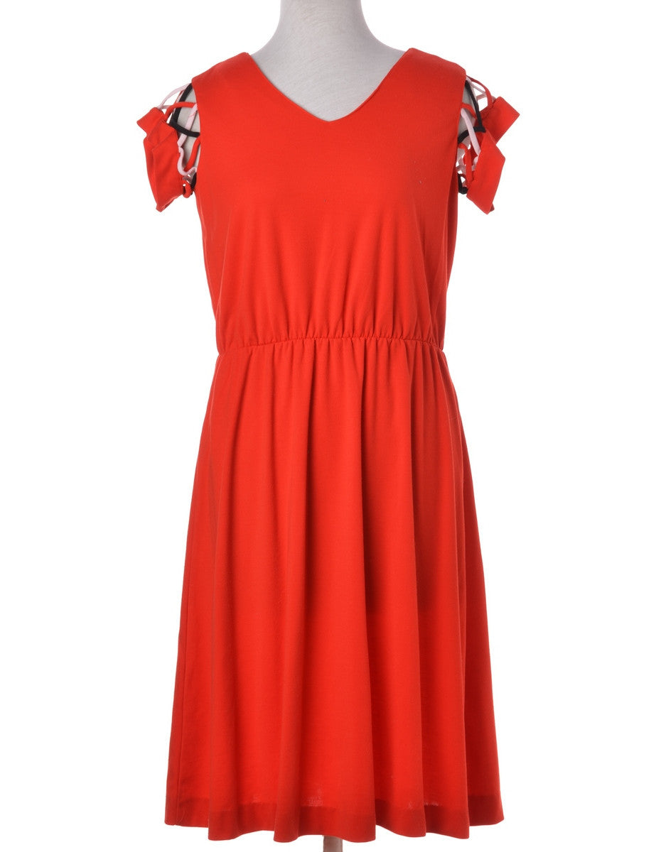 Vintage Winter Dress Red With Decorative Trim