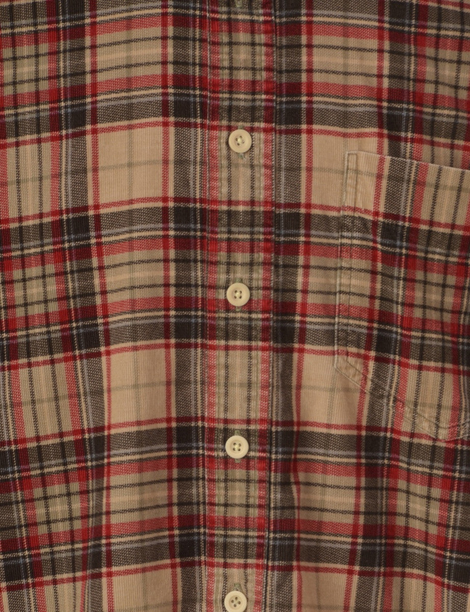 Checked Shirt Brown With A Button Down Collar