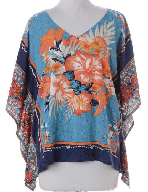 Vintage Printed Top Multi-colour With A V-neck