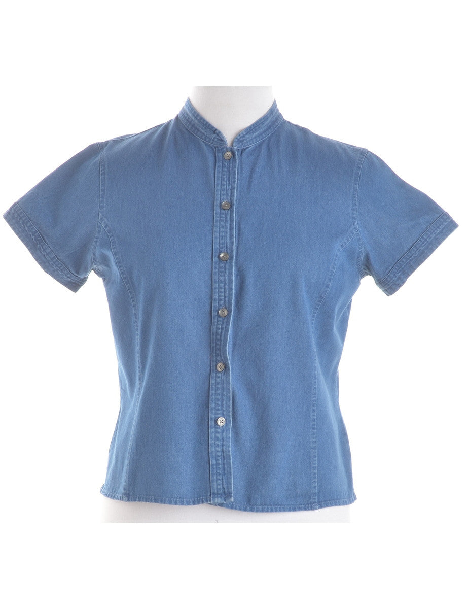 Blouse Washed Indigo With A Chinese Collar