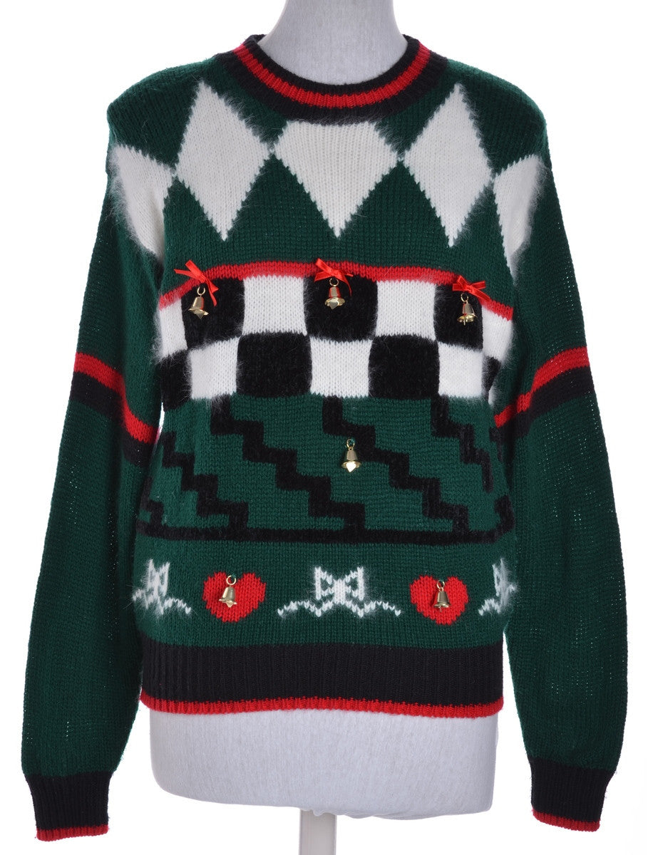 Beyond Retro Label Jingle Bells Jumper Dark Green With Small Bells Attached