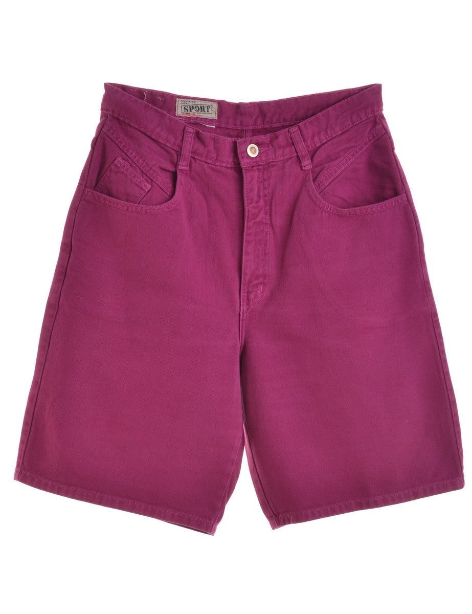 Denim Shorts Purple With Multiple Pockets