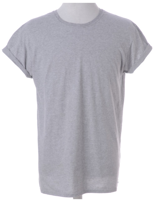Beyond Retro Label Tom Roll Sleeve T-Shirt Grey With A Round Neck