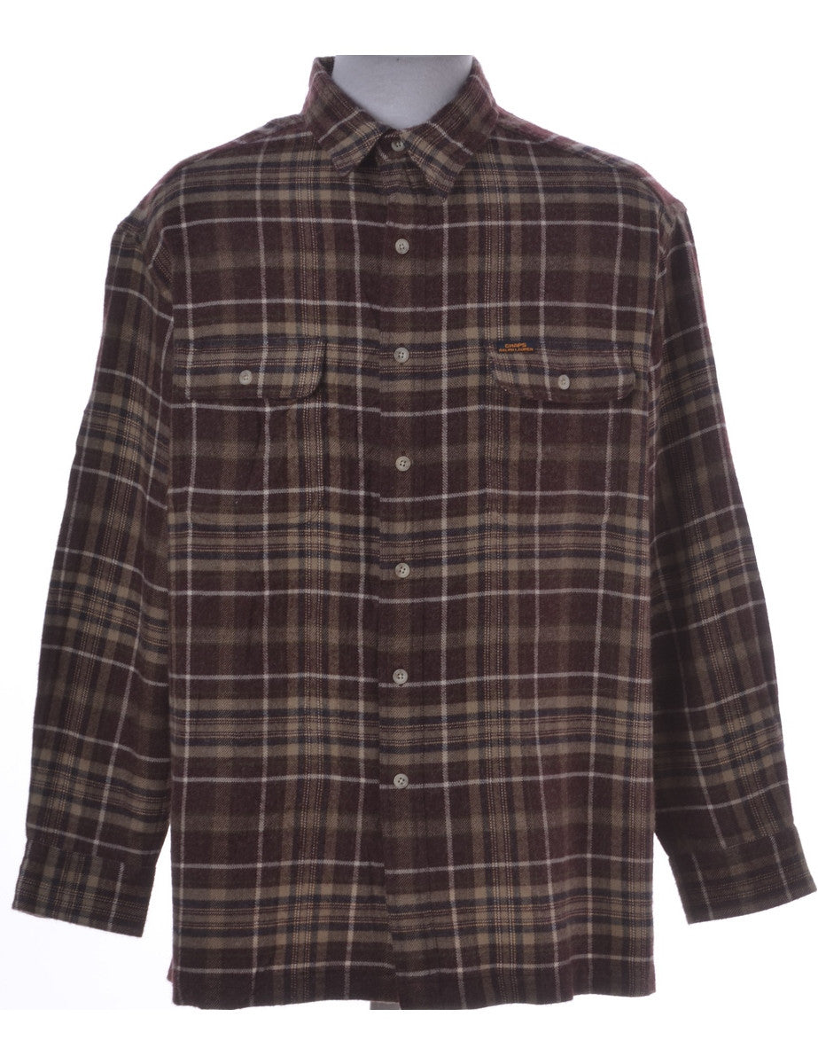 Checked Shirt Brown With Pockets