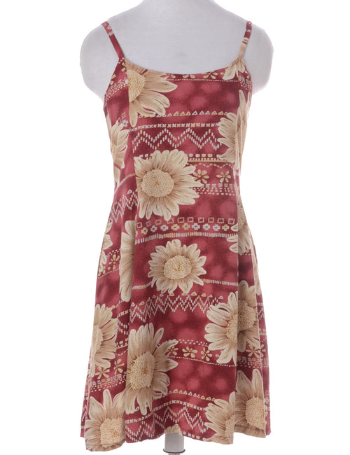 Vintage Summer Dress Burgundy With Back Tie