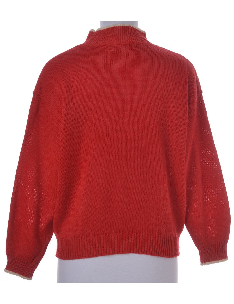 Jumper Red With A High Neck