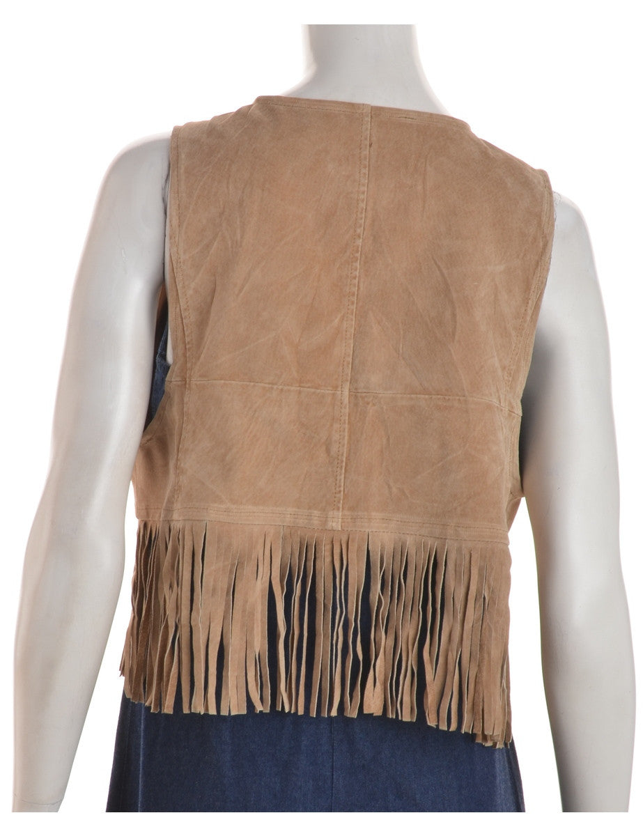 Beyond Retro Label Fringe Waistcoat Brown With Satin Lining