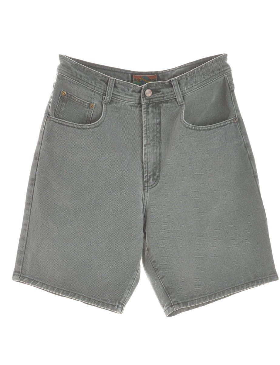 Denim Shorts Light Green With Pockets