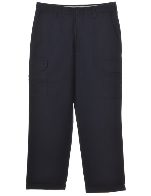 Beyond Retro Label Twill Trouser Navy With A Rolled Hem