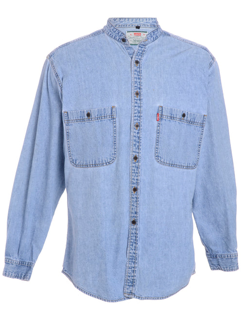 Label Charles Grandad Collar Denim Shirt