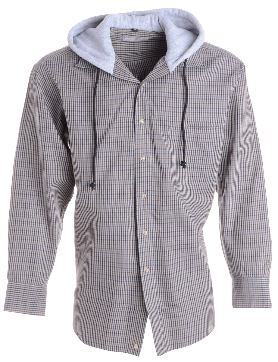 Beyond Retro Label Label Grey Theo Hooded Shirt