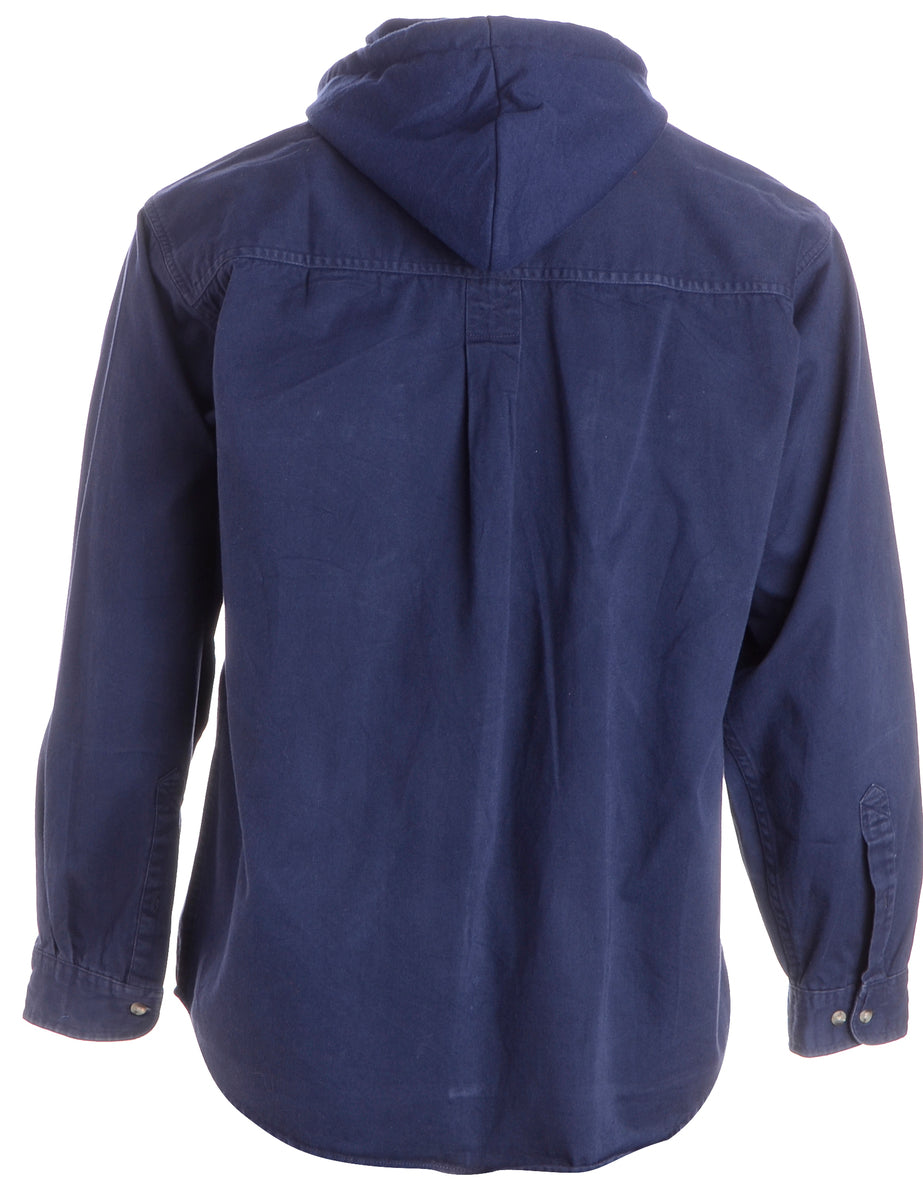 Beyond Retro Label Label Navy Theo Hooded Shirt