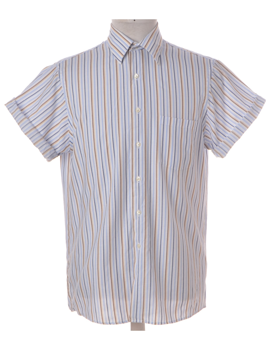 Beyond Retro Label Label Roll Sleeve Stripy Shirt