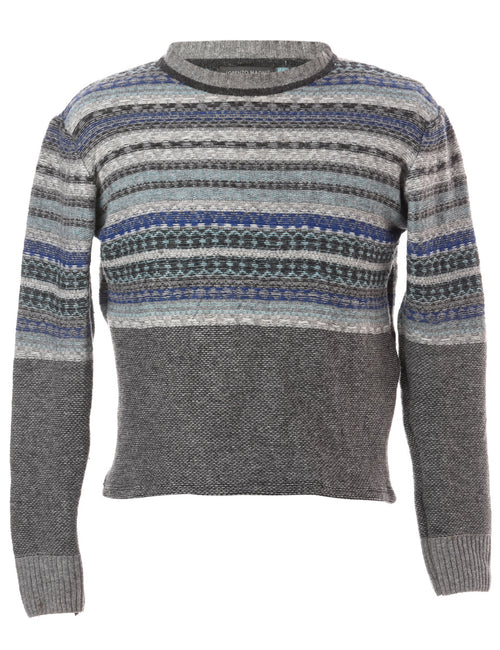 Label Straight Hem Chunky Knit Jumper