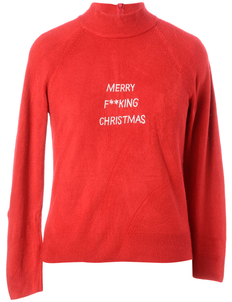 b63ba2a2a79 Unisex Beyond Retro Label Label Merry F  king Christmas Sweater Red ...