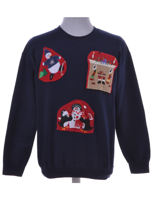 Navy Appliqué Christmas Sweatshirt